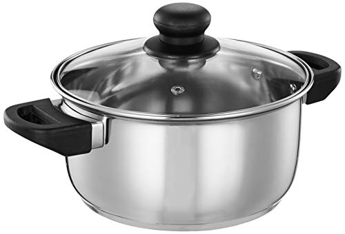 Amazon Brand - Solimo Stainless Steel Induction Bottom Dutch Oven with Glass Lid (20cm, 3 litres)