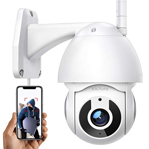 Caméra Surveillance Extérieur Victure 1080P pour la Sécurité à Domicile avec Une Pan/Tilt Vue à 360° Suivi de Mouvement Intelligent Vision Nocturne IP66 Étanche Compatible avec iOS/Android