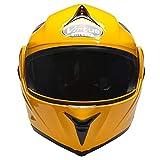 Triperson Full Face Flip up Modular Motorcycle Helmet Dual Visor Motocross Helmet DOT Approved (Yellow + black goggles, X-Large)