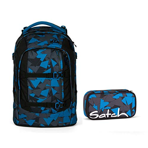Satch Pack by Ergobag - 2tlg. Set Schulrucksack (+SchlamperBox Etui) - Blue Triangle