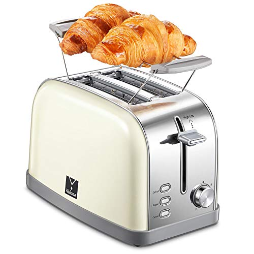 2 Slice Toaster with 7 Bread Shade Settings and Warming Rack, Toast Evenly and Quickly, Extra Wide Slots, Retro Bagel Toaster, Defrost/Bagel/Cancel Function, Removable Crumb Tray, Stainless Steel
