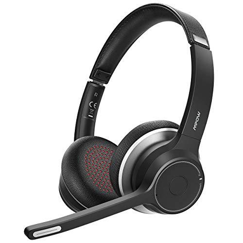 Mpow HC5 Casque Bluetooth V5.0 avec Double Micro, 22h de Conversation avec Microphone à réduction de Bruit CVC8.0, Casque Mains Libres sans Fil avec sourdine pour Les Entreprises