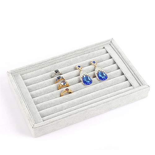 Huangwanru Jewelry Box Vetrina Esposizione dei Organizzatore Orecchini 7 Slot Anello Studs Tray per Orecchini del Braccialetto della Collana di Anelli (Color : Rose Red, Size : 23 * 15 * 3cm)