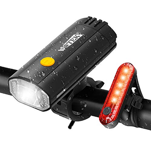 WOTEK 2 in 1 Luci Bicicletta LED Ricaricabile USB 4000mAh Power Bank per Ricaricare Cellulare Luci MTB Luce Bici Super Luminoso Ciclismo Set Fanalini Anteriori Posteriori Bicicletta Strada e Montagna