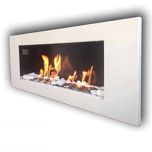 Ethanol fireplace gel, fireplace stove, wall fireplace model MONACO XXL high gloss and 24 decorative stones (white).