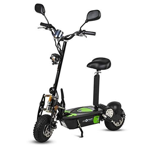 ECOXTREM Patinete, Scooter Tipo Moto Eléctrico Dos Ruedas, Color Negro, Plegable, con suspensión, Motor de 800W, Velocidad hasta 40km/h, Autonomía hasta 30-40km. Retrovisores, Velocimetro, luz Foco.