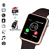 Smart Watch, Smartwatch Compatible with Android Samsung and iPhone(Partial Functions) with TF SIM Card Slot Text Call Reminder Camera Music Player Pedometer for Men Women