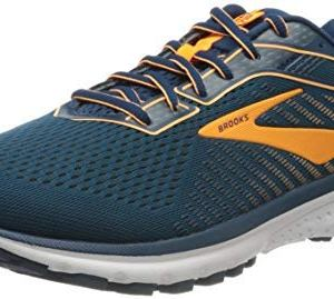 Brooks Men's Ghost 12 Road Running Shoes,Poseidon/Grey/Orange, 12