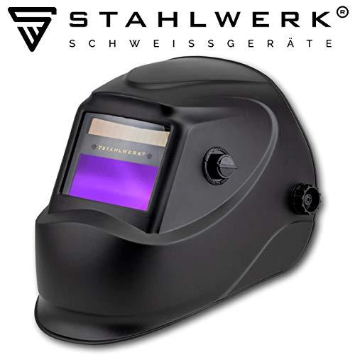 STAHLWERK ST-450R Automatik Schweißhelm vollautomatisch abdunkelnd, einstellbare Parameter, inkl. 5 Ersatzscheiben, 7 Jahre GARANTIE auf FILTER, schwarz