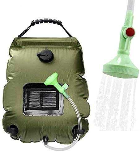 WEIYII Solar Shower Bag, Portable Shower for Camping Heating Camping Shower Bag 5 Gallons/20L Hot Water 45°C Switchable Shower Head for Camping Beach Swimming Outdoor Traveling Hiking r (Green)