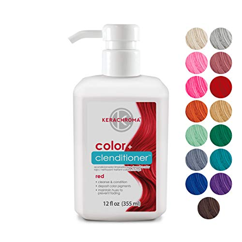 Keracolor Clenditioner Color Depositing Conditioner - Hair Glaze Colorwash, Red, 12 Fl Oz