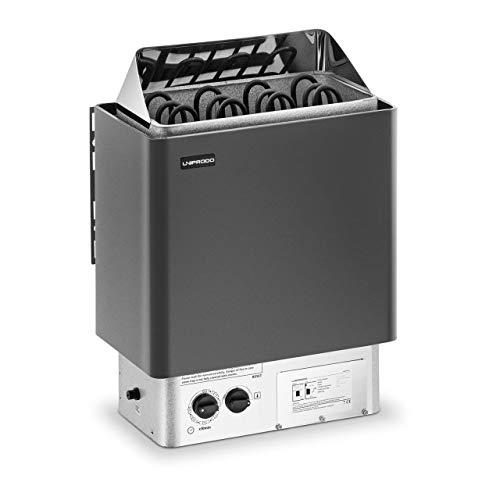 Uniprodo UNI_SAUNA_B6.0KW Saunaofen 6 kW 30 bis 110 °C inkl. Steuerung Überhitzungsschutz Zeitschaltuhr