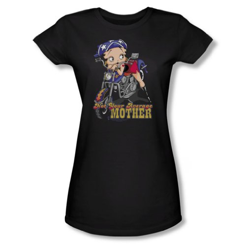 Betty Boop - Not Your Average Mother - Junior Black S/S T-Shirts/S For Women, Small, Black (Apparel)