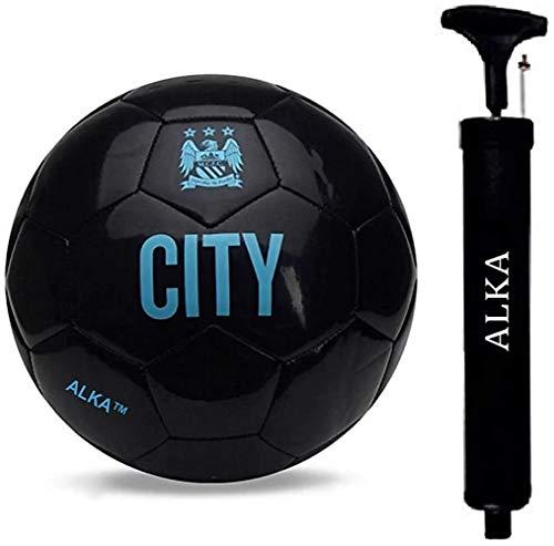 Brinda Fabrics City PU Leather Black Football Size 5 with Pump and Air Pin