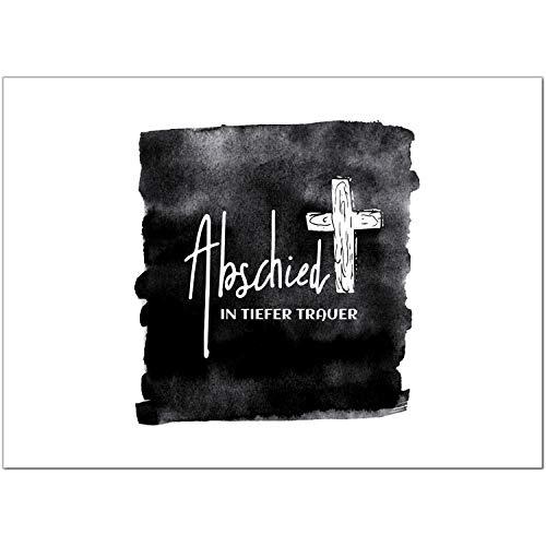 15 x Trauerkarten mit 15 Umschlägen im Set - Motiv In Tiefer Trauer - Einladung Beerdigung, Anzeige, Trauer, Sterbefall, Friedhof, Begräbnis