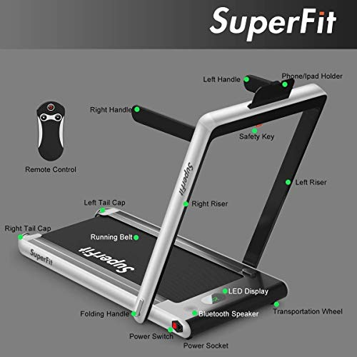 Goplus 2 in 1 Folding Treadmill, 2.25HP Under Desk Electric Treadmill, Installation-Free, with Bluetooth Speaker, Remote Control and LED Display, Walking Jogging Machine for Home/Office Use (Silver) 8
