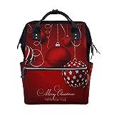 Feliz Navidad Bola Blanco y rojo Bolsas de pañales de gran capacidad Mamá Mochila Múltiples funciones Bolso de lactancia Bolso de mano para niños Cuidado del bebé Viajes Mujeres diarias