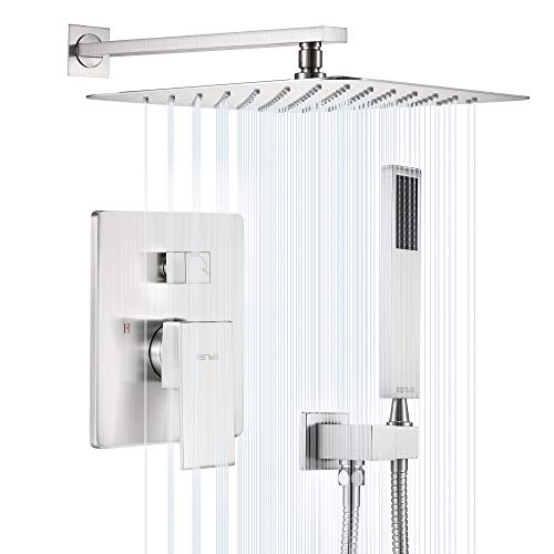 ESNBIA Shower System, Brushed Nickel Shower Faucet Set with Valve and 12' Rain Shower Head Systems Wall Mounted...