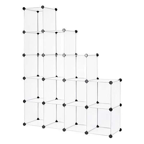 Dibea Scaffale a innesto in plastica, scarpiera, Armadio modulare, 16 Scomparti, Fcher, 30 x 30 cm