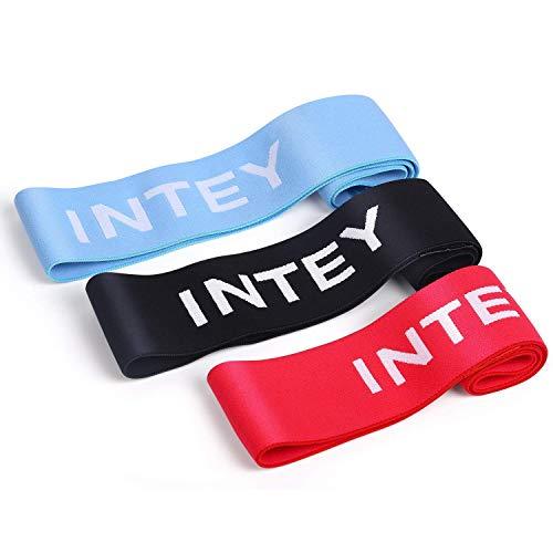 INTEY Bande Elastiche di Resistenza, Set di fasce elastiche per fitness in tessuto con 3 livelli di...