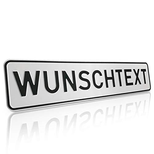 Betriebsausstattung24® Individuelles Parkplatzschild mit Wunschprägung/Wunschtext ohne P-Symbol   Kennzeichen-Form Text nach Wahl   BxH 52,0 x 11,0 cm   mit/ohne Löcher