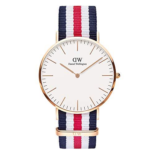 Daniel Wellington Classic Canterbury, Blau-Weiß-Rot/Roségold Uhr, 40mm, NATO, für Herren