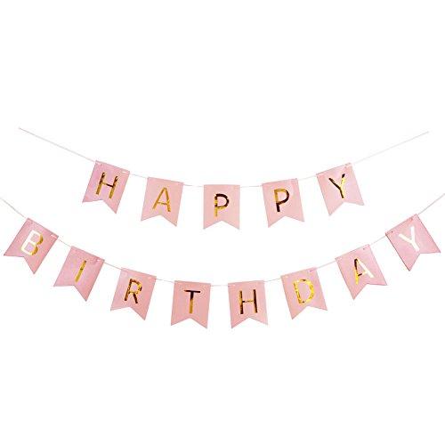 SUNBEAUTY Happy Birthday Girlande Geburtstag Girlande mit Gold Folien Buchstaben (Rosa)