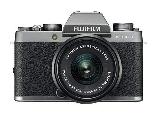 Fujifilm Kit X-T100 Fotocamera Digitale 24MP (APS-C), Mirino EVF, Schermo LCD Touch da 3' Inclinabile a 180, WiFi e Bluetooth + XC 15-45mm F/3.5-5.6 OIS PZ MILC, 24.2MP, CMOS, Argento Scuro