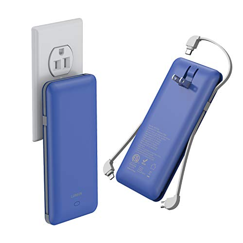 10000 mAh Power Bank Portable Charger Ultra Slim External Battery Pack with Built in AC Plug, Type-c Cable,Micro Cable and Other Cable for Cell Phone(Blue)