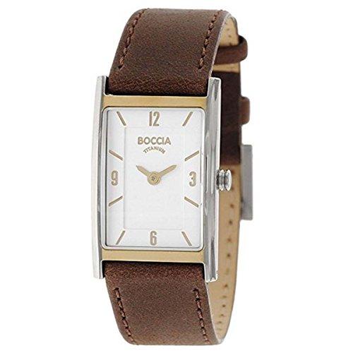 Boccia Damen Analog Quarz Uhr mit Leder Armband 3212-06