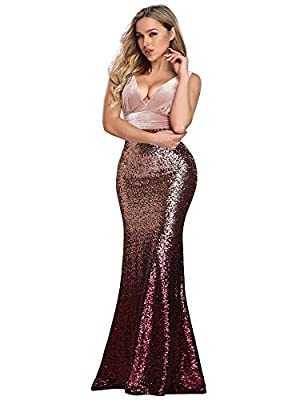 Not padded, with lining Features: Double V-Neck, patchwork design, bodycon mermaid dress, floor length evening dress Unique velvet upper part and sequins bottom part featuring mermaid style make this evening dress flattering and elegant Perfect for e...
