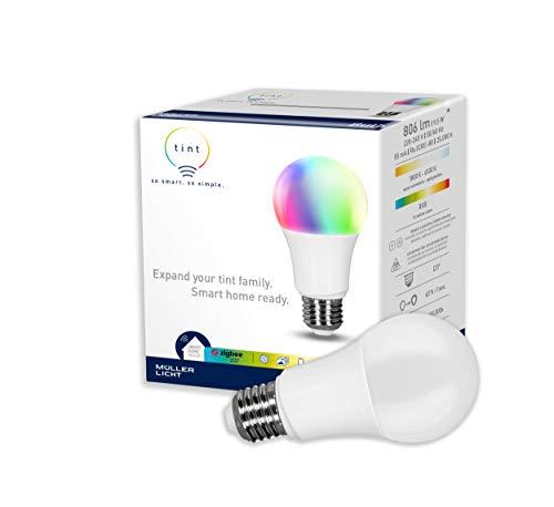 tint von Müller-Licht Smarte LED Lampe E27, Birnenform, white-color (Weißtöne und farbiges Licht), dimmbar, 9,5W, Zigbee, funktioniert mit Alexa