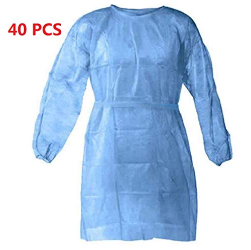 40 Packs Universal Isolation Gown with Elastic Wrists, Adults Disposable Gown Coverall, Indoor Outdoor Safety Personal Coveralls, Hospital Ward Siamese Isolation Protective Clothing Breathable Suit