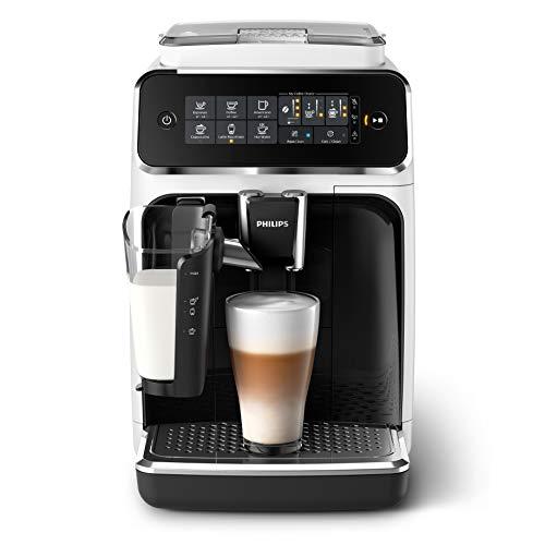 Philips Serie 3200 EP3243/50 Macchina da Caffè Automatica, 5 Bevande, con Macine in Ceramica, Filtro AquaClean, Caraffa LatteGo, 1500 W, 1.8 Litri, Bianco/Nero