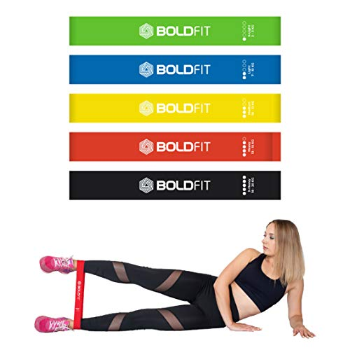 Boldfit Resistance Bands Mini Loop (Set of 5) Perfect for Toning & Home Workout.(Carry Bag Included)