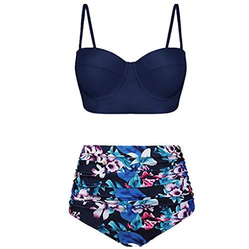Dorical Bikini Set Damen, Frauen High Waist Bademode Zweiteilige Strandkleidung Badeanzug mit Nationaler Stil Drucken Bikini Oberteil und Bikinihose Sale(Blau,Medium)