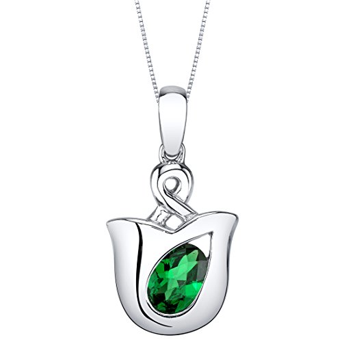 Peora Simulated Emerald Pendant Necklace in Sterling Silver,...
