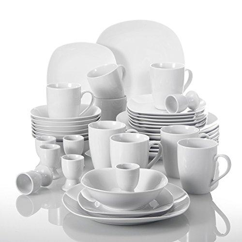 MALACASA, Serie Elisa, 40 teilig Set Porzellan Tafelservice Kombiservice Geschirrset, je 4 Dessertteller, Speiseteller, MüsliSchälen, Eierbecher, Becher für 8 Personen