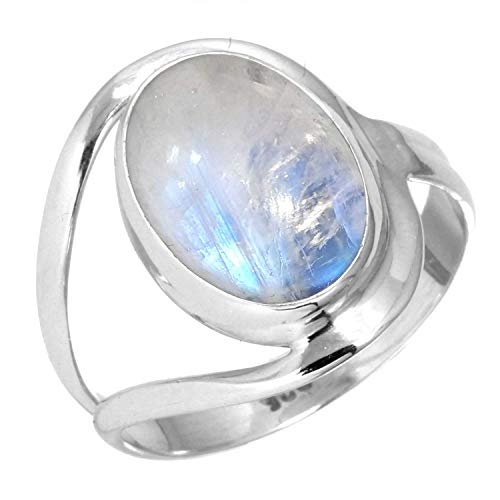 925 Sterling Silver Ring Rainbow Moonstone Handmade Jewelry...