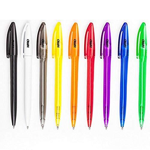 [50-Stück Packung] WPRO Kugelschreiber Set Manuel aus Kunststoff, Hochwertig, Edel, Farbenmix