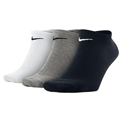 Nike U NK EVERYDAY LTWT NS 3PR Calzini, Unisex Adulto, wh(blk)/dgh(blk)/blk(wh), L