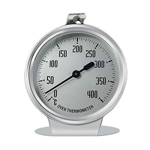 Termometro da Forno Termometro da Forno in Acciaio Inossidabile da 0 a 400 Gradi con Sospensione e Supporto per termometro da Forno, termometro per tostapane, termometro per Grill analogico