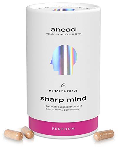 ahead SHARP MIND | Nootropic Brain Booster* mit Vitamin B5 und B12 für Konzentration und Gedächtnis* | 90 Kapseln | OHNE Koffein | Konzentrations Tabletten mit CDP-Cholin und Phosphatidylserin
