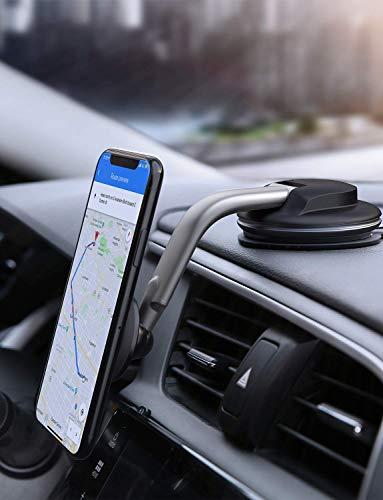 AUKEY Porta Cellulare Auto Magnetico 360 Gradi di Rotazione Cruscotto Supporto Smartphone Auto Universale per iPhone 11/11 PRO/XS Max / 8/7, Samsung Galaxy S10+, Huawei e GPS Dispositivi