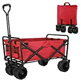 femor Folding Collapsible Outdoor Utility Wagon Cart, Heavy Duty Garden Cart with All-Terrain Wheels and Carrying Bag for Shopping, Beach, Yard (Red)