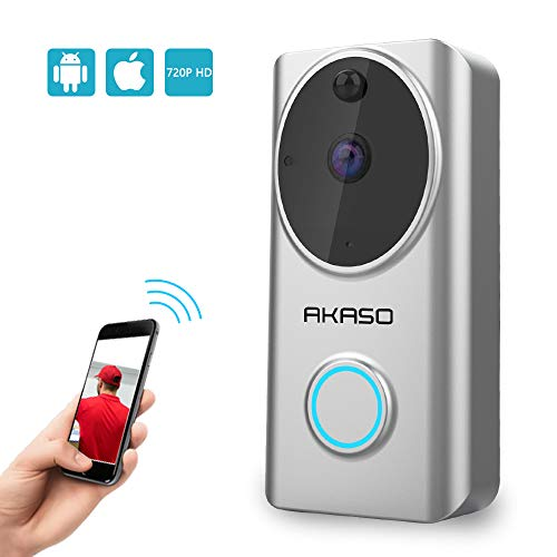 AKASO Video Doorbell Wireless 720P, WiFi Smart Doorbell Camera Compatible with Alexa, Motion Detection, 166° Viewing Angle, Two-Way Audio, Cloud Storage, Night Vision
