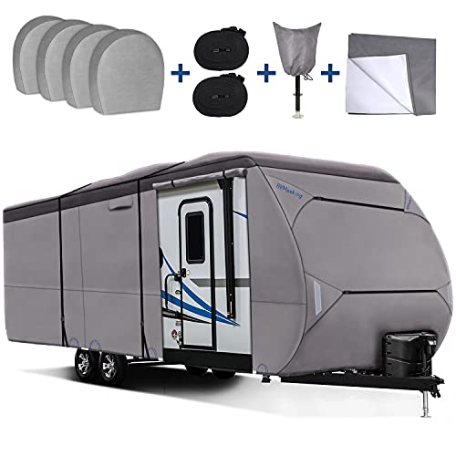RVMasking Upgraded Waterproof 500D Top Travel Trailer Cover for...
