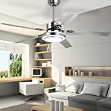 52' Indoor Stainless Steel Blades Ceiling Fan With Integrated LED Lighting Kit And Remote Control Four Reversible Blades Brushed Nickel Chandelier Ceiling Fan
