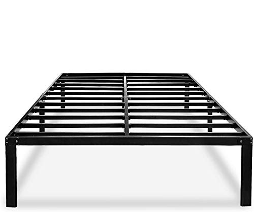 HAAGEEP Black Queen Bed Frame Metal No Box Spring Needed 14 Inch Platform Heavy Duty Beds Frames with Storage, BQ
