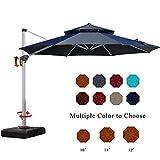 PURPLE LEAF 11 Feet Double Top Deluxe Patio Umbrella Offset Hanging Umbrella Outdoor Market Umbrella Garden Umbrella, Black